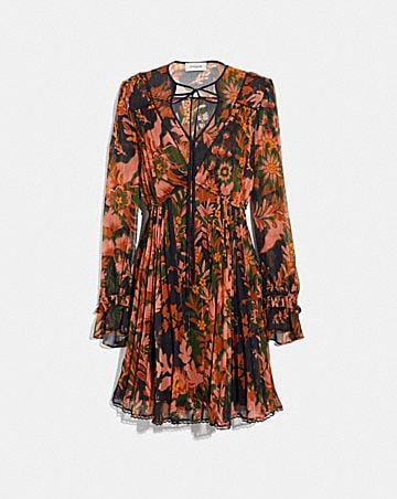 FOREST FLORAL PRINT PLEATED DRESS WITH NECKTIE