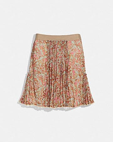RETRO FLORAL PRINT PLEATED SKIRT
