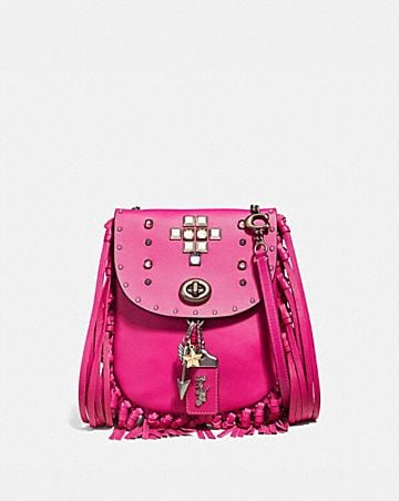 FRINGE SADDLE BAG WITH PYRAMID RIVETS