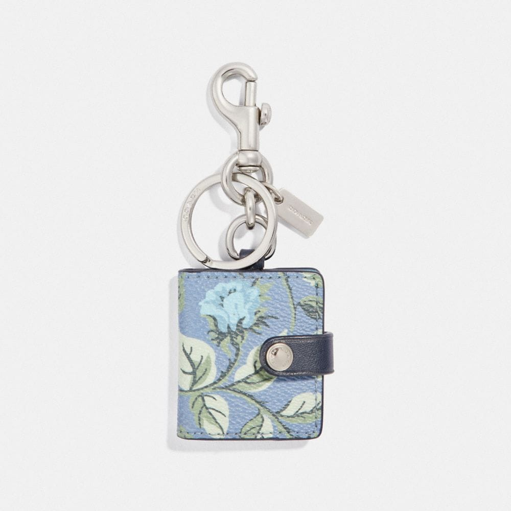 PICTURE FRAME BAG CHARM WITH SLEEPING ROSE PRINT