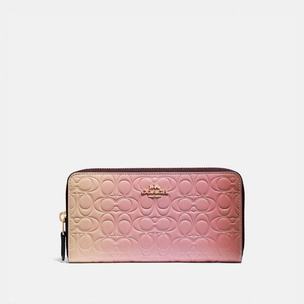 ACCORDION ZIP WALLET IN OMBRE SIGNATURE LEATHER