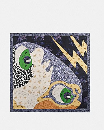 CAT FACE PATCHWORK SILK SQUARE SCARF