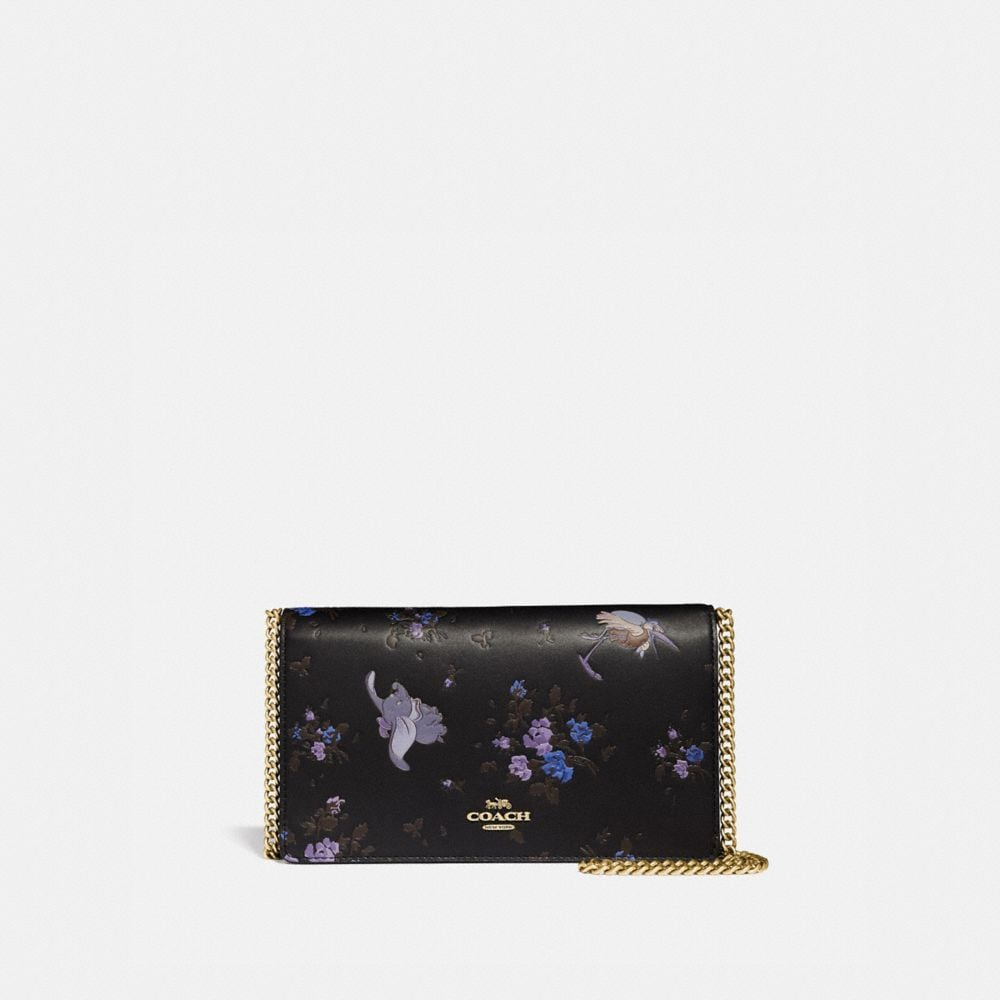 DISNEY X COACH CALLIE FOLDOVER CHAIN CLUTCH WITH DISNEY MOTIF