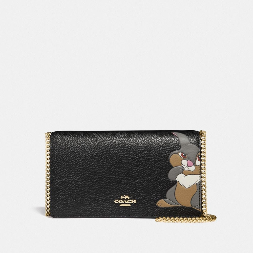 DISNEY X COACH CALLIE FOLDOVER CHAIN CLUTCH WITH THUMPER