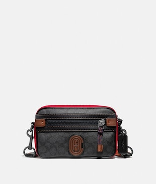 ACADEMY CROSSBODY IN SIGNATURE CANVAS WITH COACH PATCH
