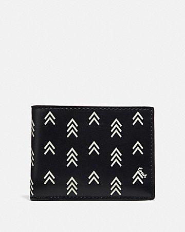 SLIM BILLFOLD WALLET WITH LINE ARROW PRINT