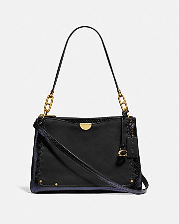 DREAMER SHOULDER BAG WITH WHIPSTITCH AND SNAKESKIN DETAIL