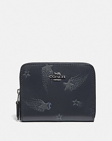 SMALL ZIP AROUND WALLET WITH STAR PRINT