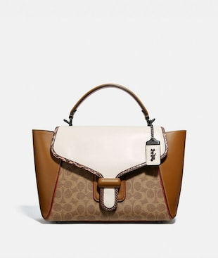 COURIER CARRYALL IN COLORBLOCK SIGNATURE CANVAS WITH SNAKESKIN DETAIL