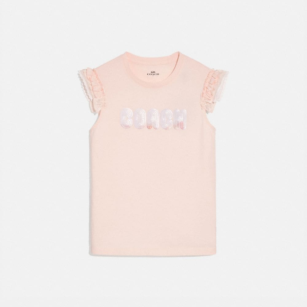 COACH PRINT T-SHIRT WITH EMBROIDERED CAP SLEEVES