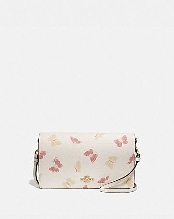 HAYDEN FOLDOVER CROSSBODY CLUTCH WITH BUTTERFLY PRINT