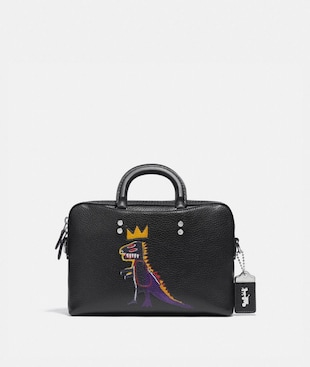 COACH X JEAN-MICHEL BASQUIAT ROGUE SCHMALE AKTENTASCHE 25