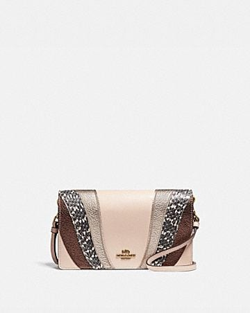 HAYDEN FOLDOVER CROSSBODY CLUTCH WITH WAVE PATCHWORK AND SNAKESKIN DETAIL