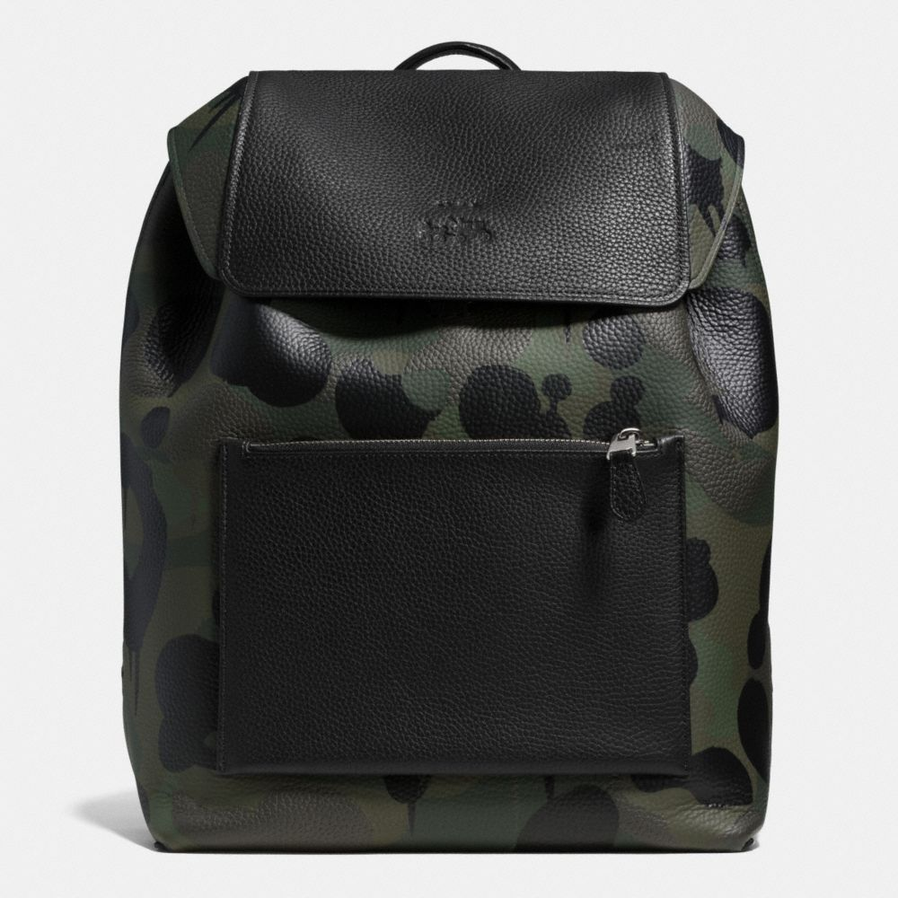 MANHATTAN BACKPACK IN MILITARY WILD BEAST PRINT LEATHER