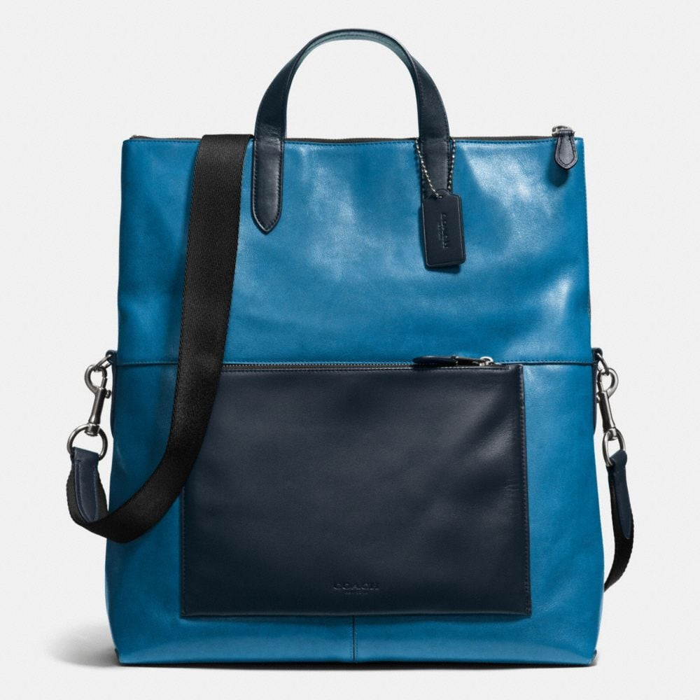 MANHATTAN FOLDOVER TOTE IN LEATHER