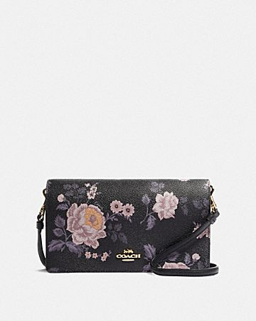 HAYDEN FOLDOVER CROSSBODY CLUTCH WITH GARDEN ROSE PRINT