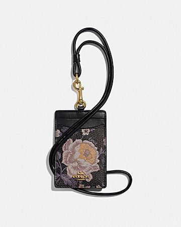 ID LANYARD WITH GARDEN ROSE PRINT