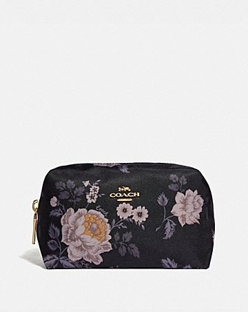 SMALL BOXY COSMETIC CASE WITH GARDEN ROSE PRINT