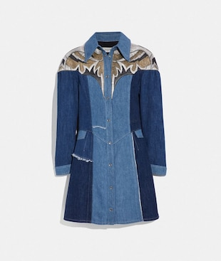 ROBE PATCHWORK EN DENIM ET CUIR