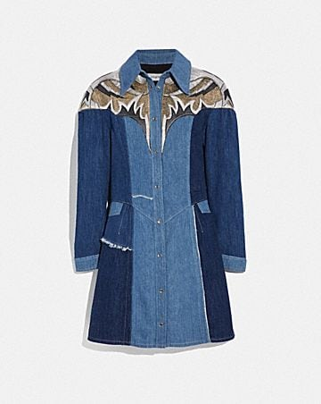 DENIM LEATHER PATCHWORK DRESS