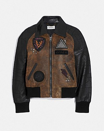 EMBELLISHED VARSITY JACKET WITH PATCHWORK SLEEVES