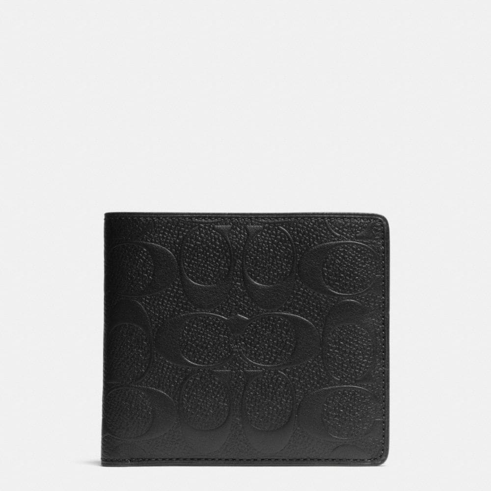 DOUBLE BILLFOLD WALLET IN SIGNATURE CROSSGRAIN LEATHER