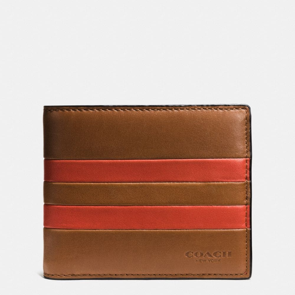 MODERN VARSITY STRIPE COMPACT ID WALLET IN SPORT CALF LEATHER
