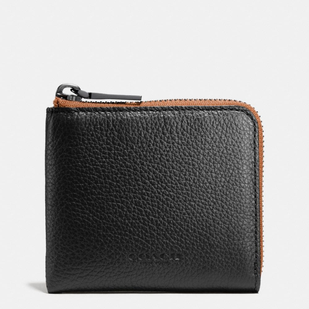 HALF ZIP WALLET IN PEBBLE LEATHER