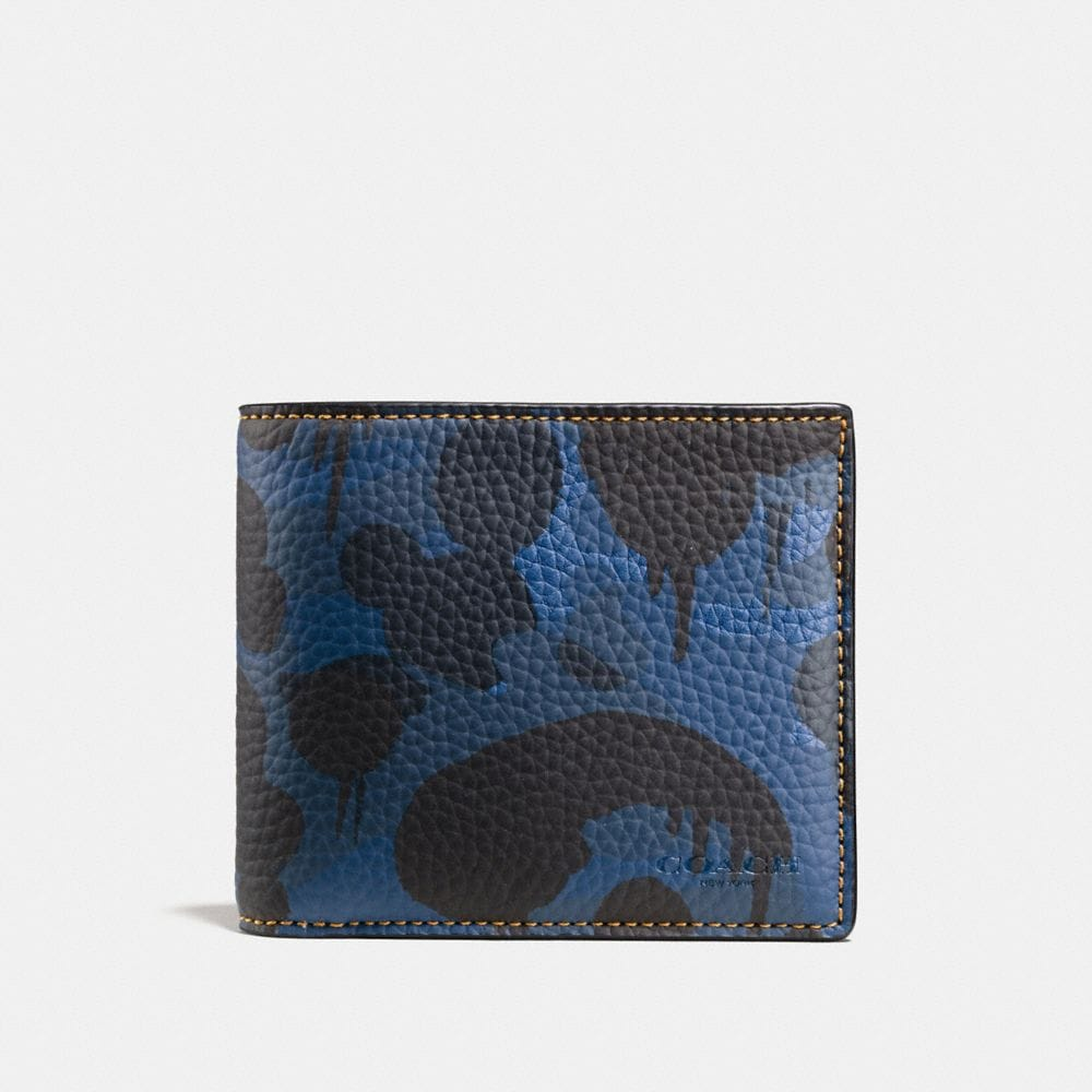 COMPACT ID WALLET IN WILD BEAST CAMO PRINT PEBBLE LEATHER