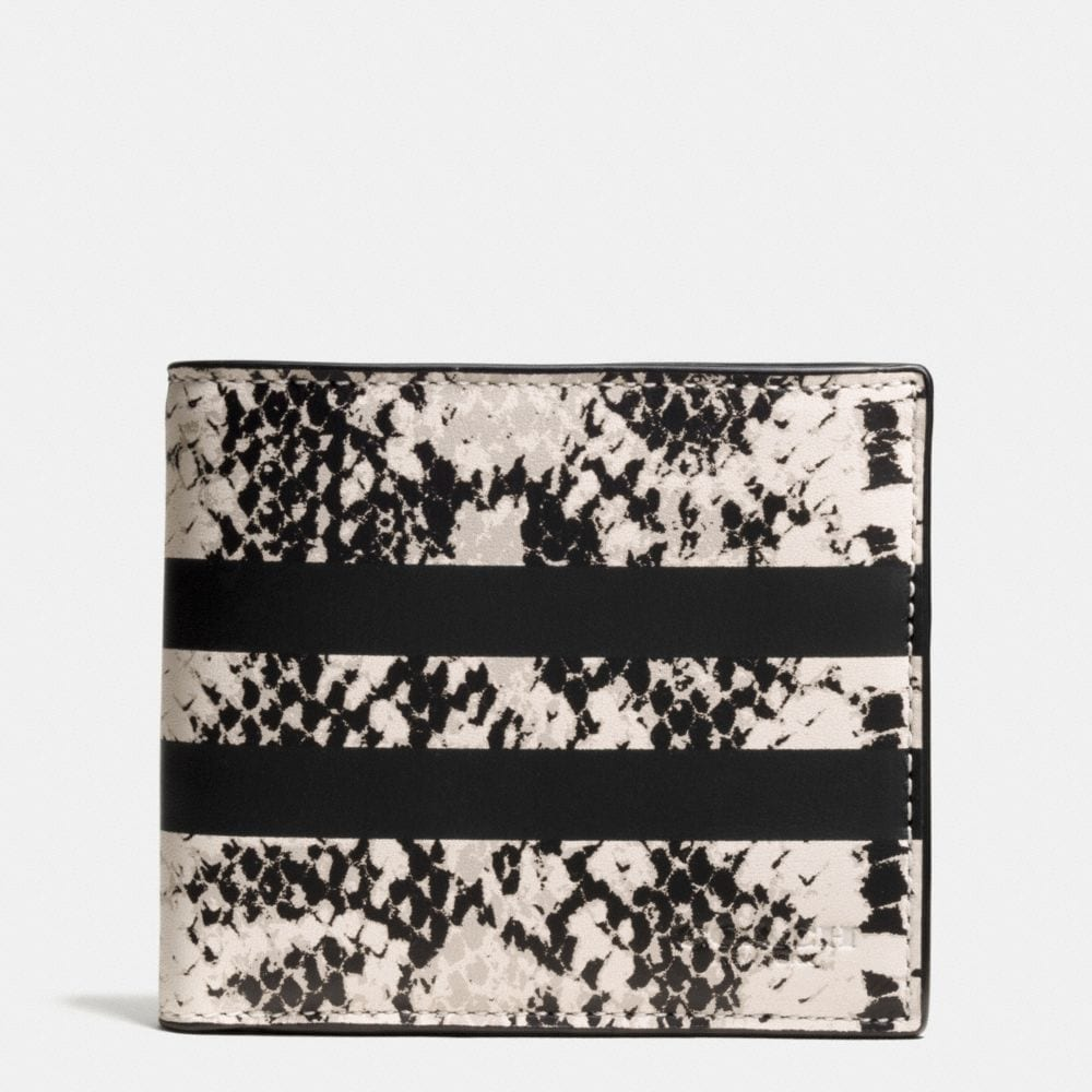 DOUBLE BILLFOLD WALLET IN PYTHON STRIPE LEATHER