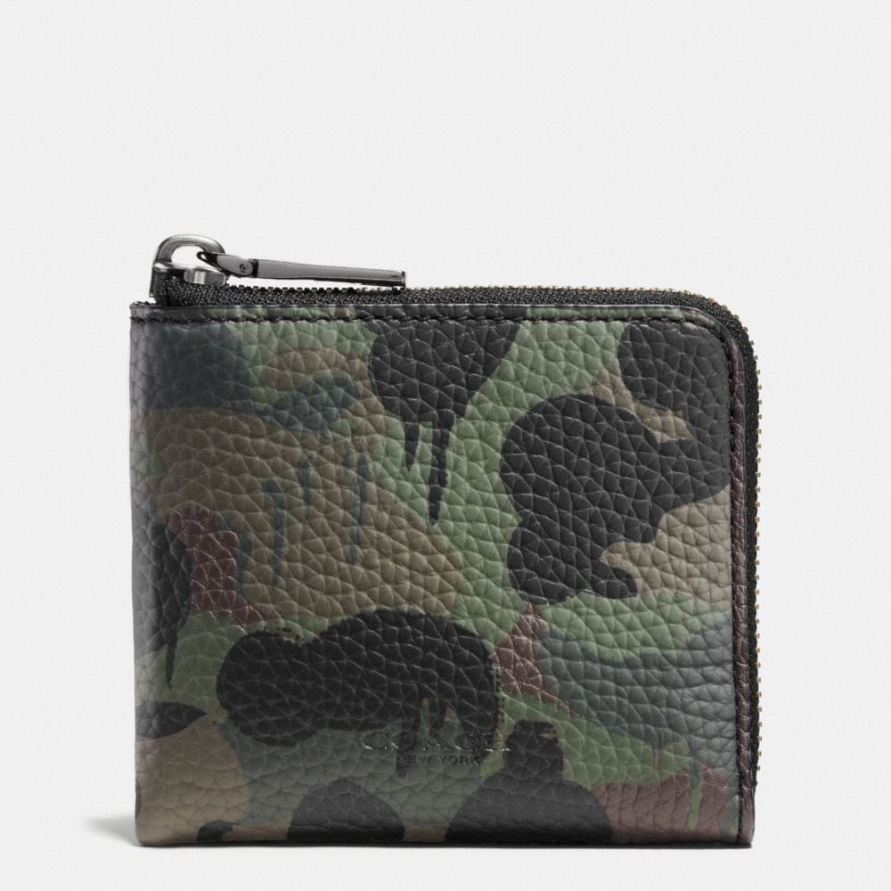 HALF ZIP WALLET IN WILD BEAST CAMO PRINT PEBBLE LEATHER