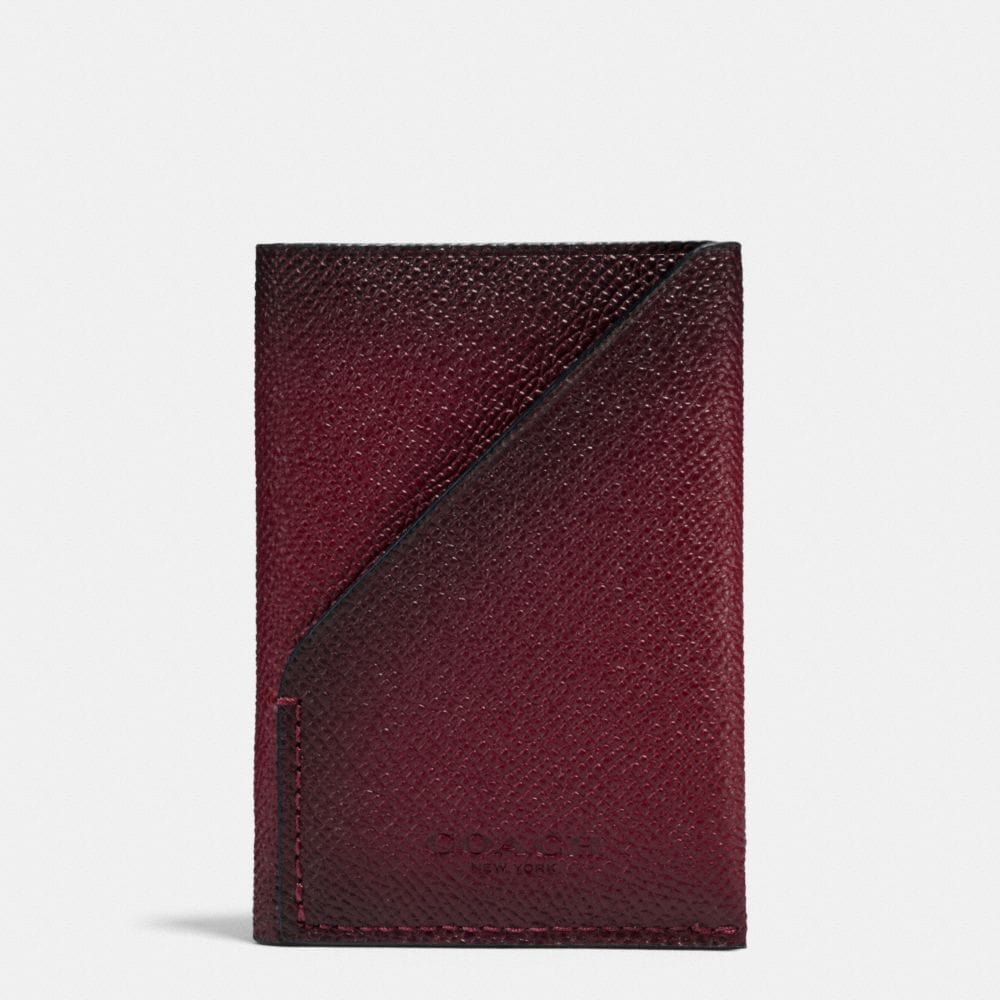 SLIM CARD WALLET IN BURNISHED CROSSGRAIN LEATHER