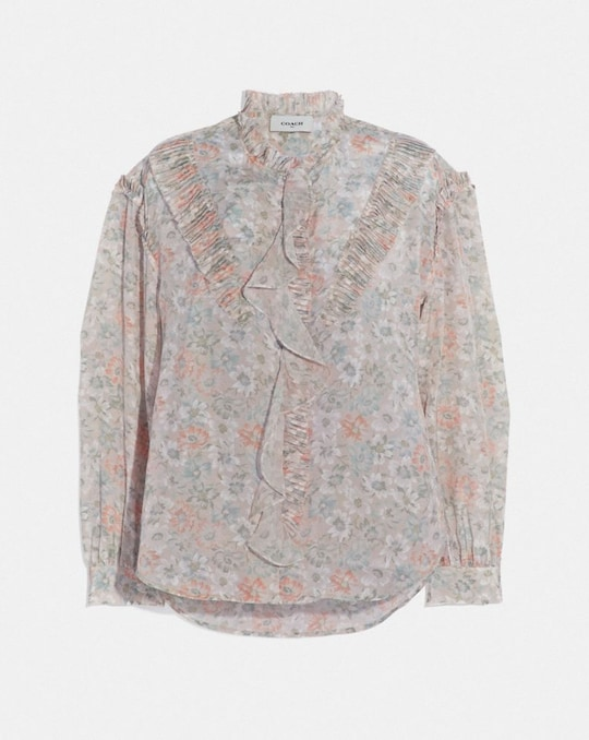 PRINTED LONG SLEEVE BLOUSE WITH RUFFLES