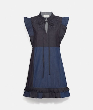 ABITO PATCHWORK IN DENIM CON PIZZO SAN GALLO