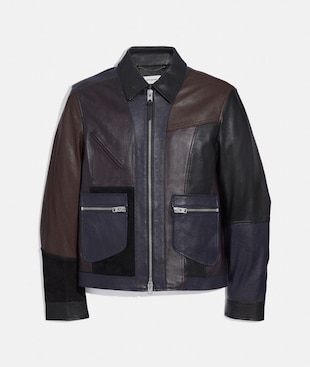 PIECED LEATHER JACKET