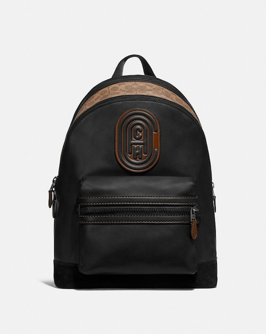 ACADEMY BACKPACK WITH SIGNATURE CANVAS BLOCKING AND COACH PATCH