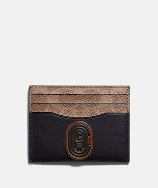CARD CASE WITH SIGNATURE CANVAS BLOCKING AND COACH PATCH