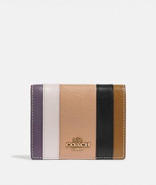 SMALL SNAP WALLET WITH PATCHWORK STRIPES