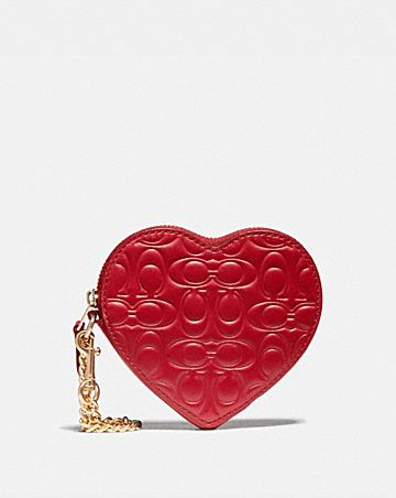 HEART COIN CASE IN SIGNATURE LEATHER