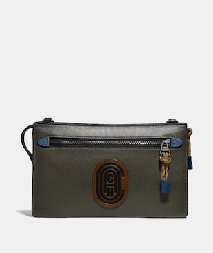 RIVINGTON CONVERTIBLE POUCH IN COLORBLOCK WITH COACH PATCH