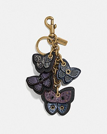 BUTTERFLY CLUSTER BAG CHARM WITH SNAKESKIN DETAIL