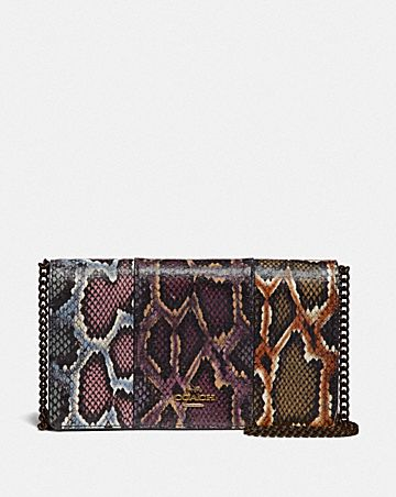 CALLIE FOLDOVER CHAIN CLUTCH IN COLORBLOCK SNAKESKIN