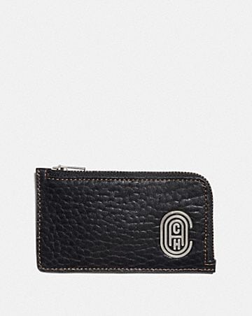 L-ZIP CARD CASE WITH COACH PATCH