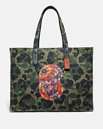 TOTE 42 WITH WILD BEAST PRINT AND KAFFE FASSETT COACH PATCH