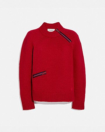 FITTED CREWNECK SWEATER WITH ZIPS