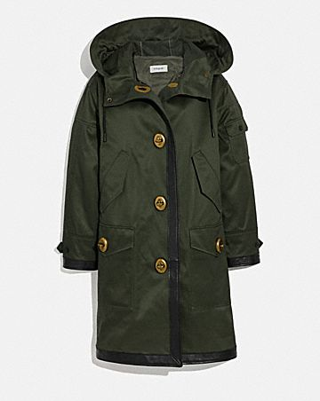 LONG PARKA WITH LEATHER TRIM