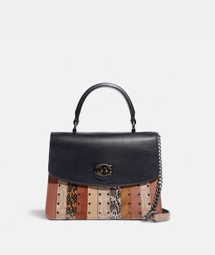 PARKER TOP HANDLE WITH SIGNATURE CANVAS PATCHWORK STRIPES AND SNAKESKIN DETAIL