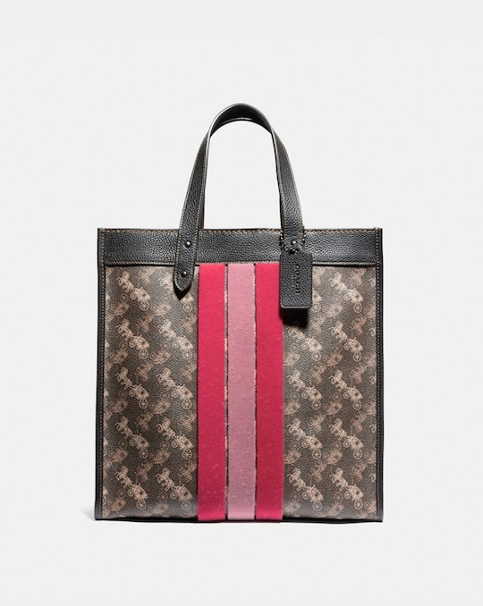 FIELD TOTE WITH HORSE AND CARRIAGE PRINT AND VARSITY STRIPE
