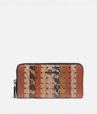 ACCORDION ZIP WALLET WITH SIGNATURE CANVAS PATCHWORK STRIPES AND SNAKESKIN DETAIL