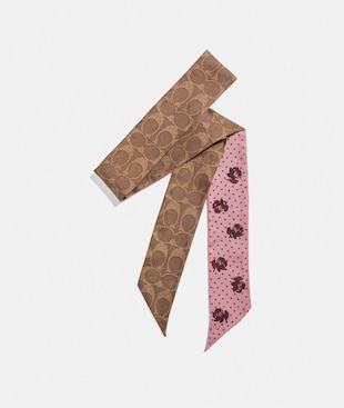 SIGNATURE AND FLORAL PRINT SILK SKINNY SCARF